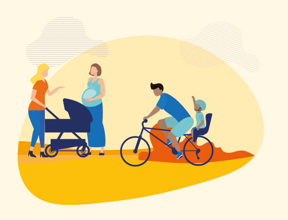 a stylised image of two women beside a pram, one is pregnant. A man cycles past with a child in a child-seat