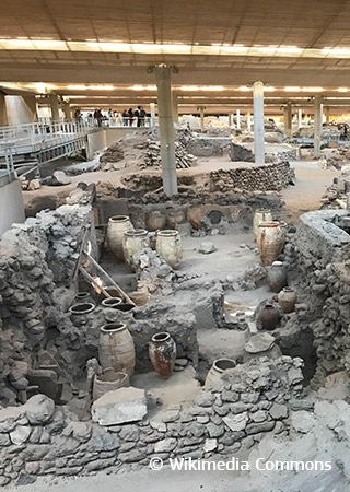 Excavations of the Minoan town of Akrotiri
