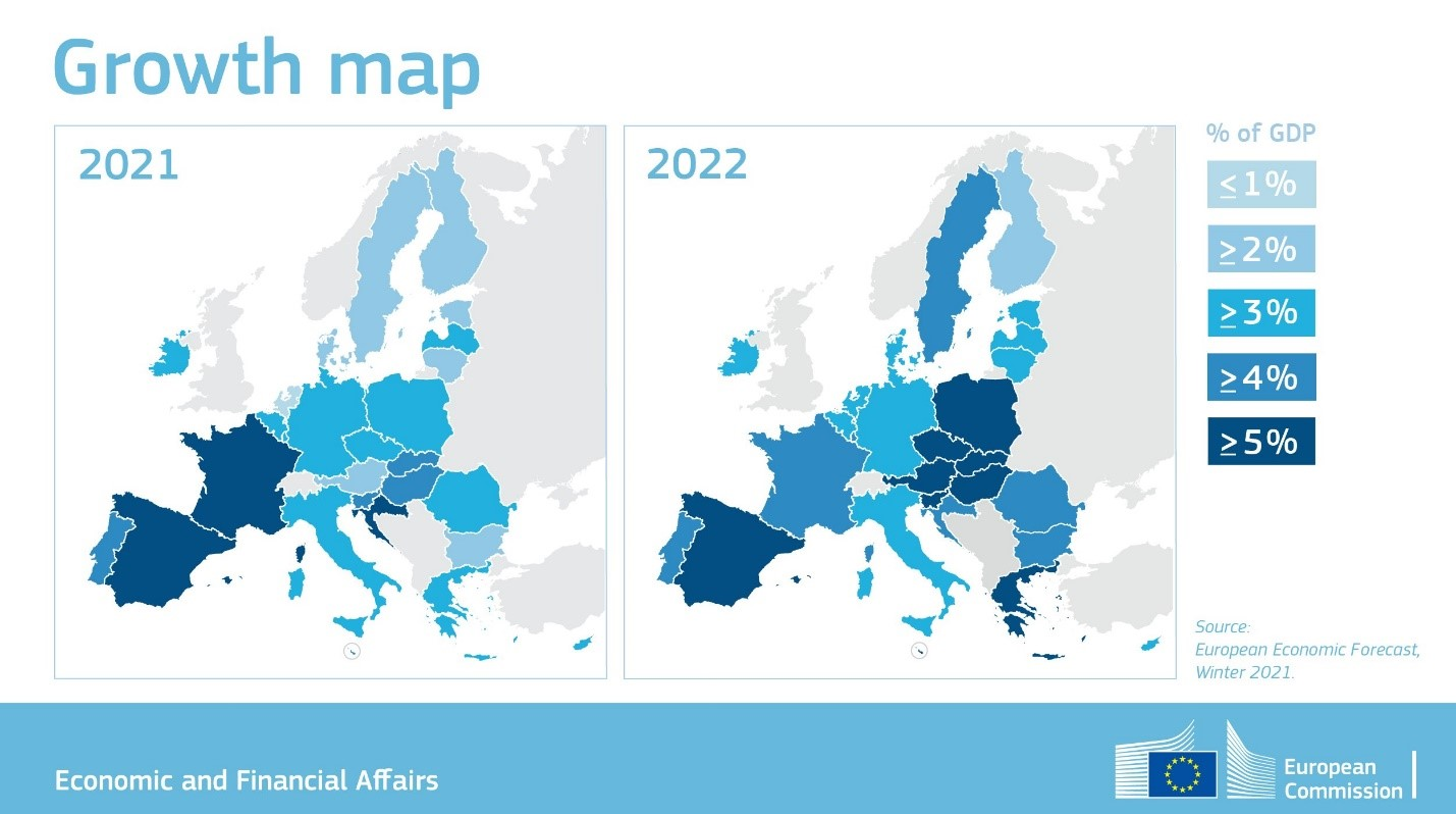 Infographic of projected economic growth across the EU for 2021 and 2022