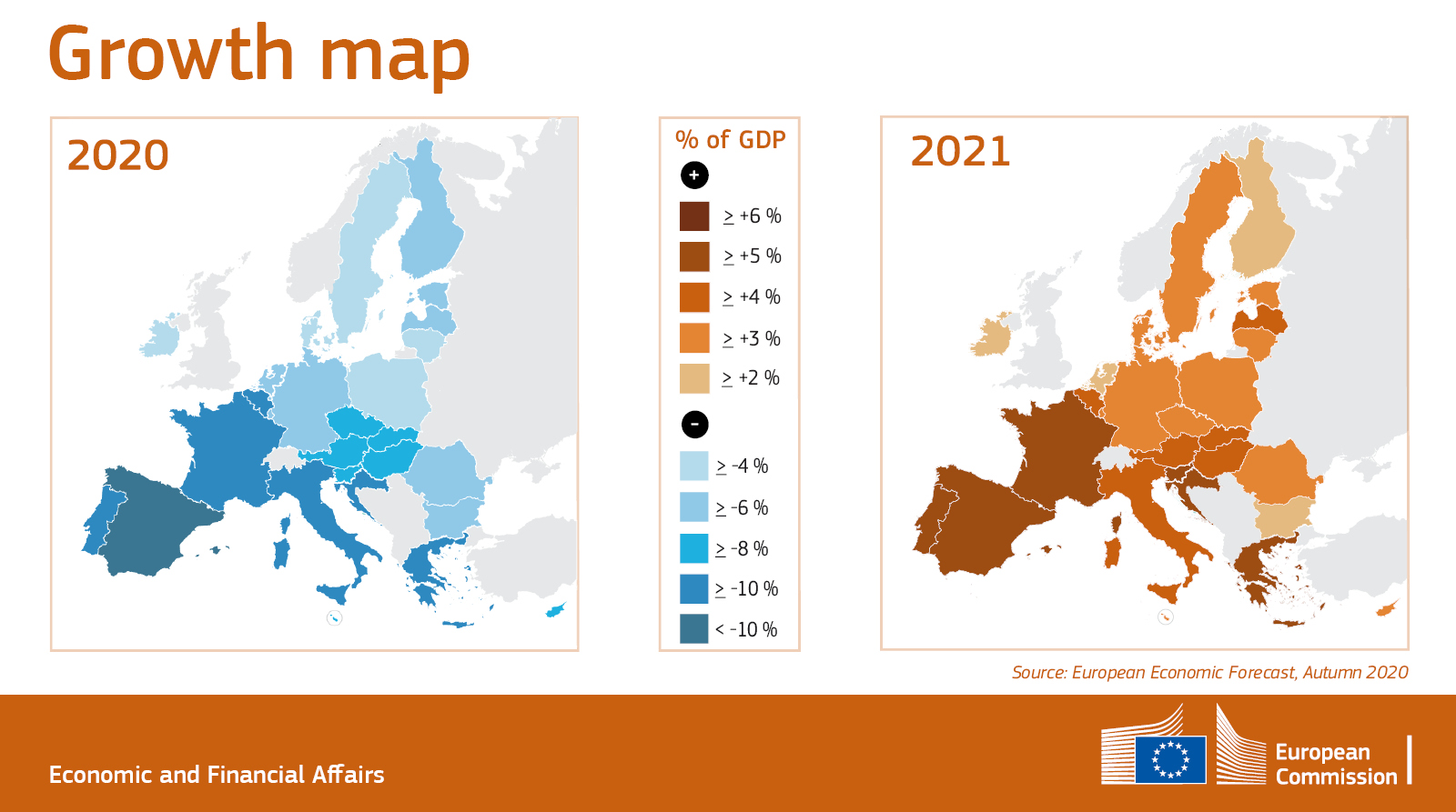 Two maps showing the drop in GDP per country in the EU