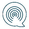 Small icon showing a radio signal inside a speech bubble