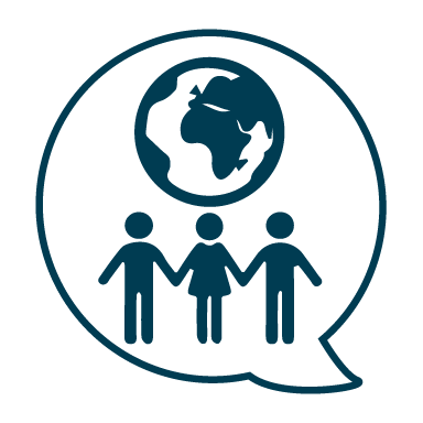 Icon with three people holding hands under the globe