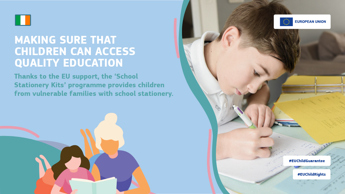 """In Ireland, the """"School Stationery Kits"""" programme provides children from vulnerable families with school stationery."""