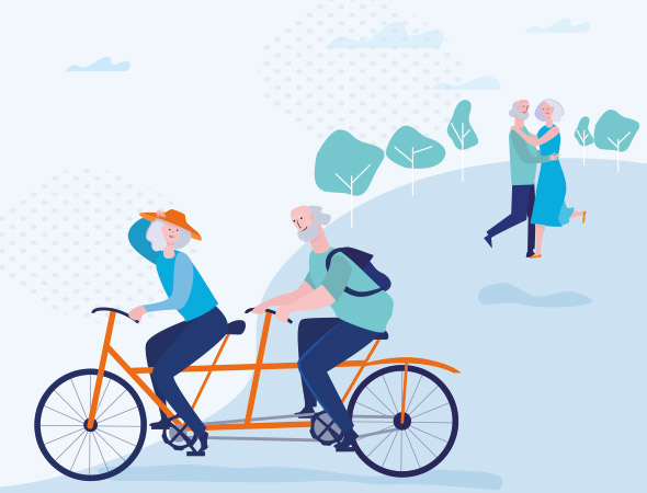 a stylised image of two older people on a tandem bicycle