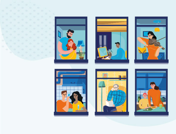 6 windows show glimpses of people at home. A man and woman hug, a man sits alone at a screen, a woman plays the violin, two people share a drink, a man reads in an armchair, a woman serves food to a child.