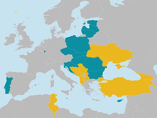 Map of the Horizon 2020 widening countries (R&I performance below 70% of the EU average)