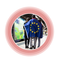 circle image 2 people with European flag