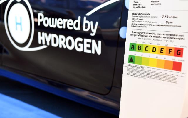 Sign on a car powered by hydrogen