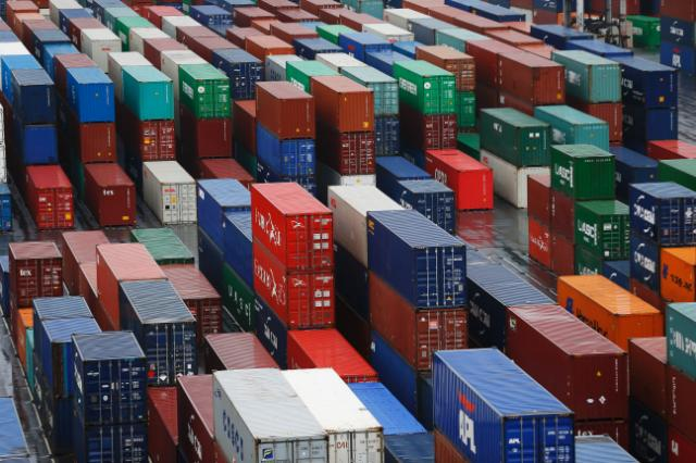 General view of containers in a port
