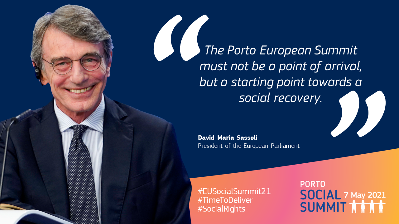 """Quote card by David Sassoli, President of the European Parliament: """"The Porto European Summit must not be a point of arrival, but a starting point towards a social recovery."""""""