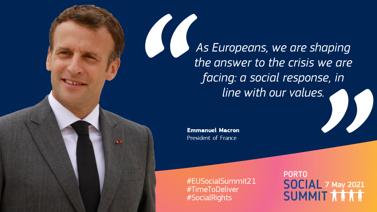 """Quote card by Emmanuel Macron, President of France: """"As Europeans, we are shaping the answer to the crisis we are facing: a social response, in line with our values."""""""
