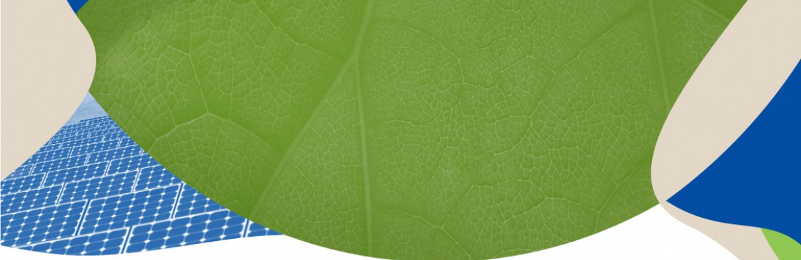 green leaf and solar panel graphic