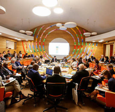 Delegates participating in a side event at the AU-EU conference