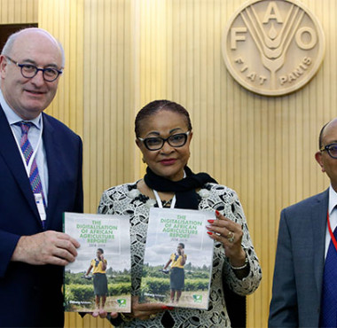 EU Commissioner Phil Hogan with AU Commissioner Josefa Sacko and Mr Michael Hailu - Technical Centre for Agricultural and Rural Development