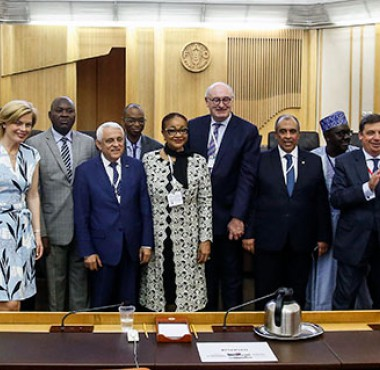 Group photo including EU Commissioner Hogan and AU Commissioner Sacko at the AU-EU Ministerial Conference in Rome