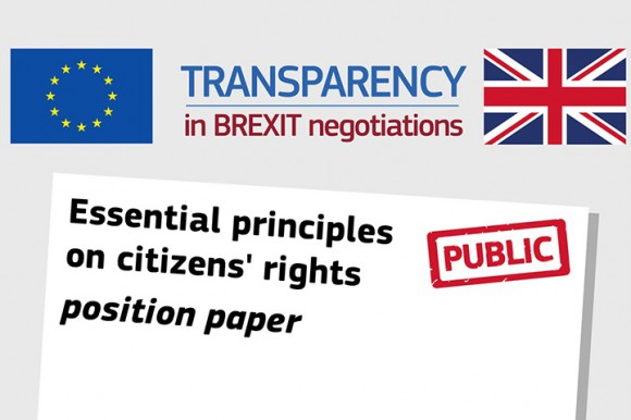 """The EU and UK flags with the text """"Transparency in Brexit negotiations"""""""
