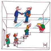 Cartoon view inside a box with two floors. On the upper floor there are two well-seuited men shaking hands. On the floor beneath are several women in line on some stairs trying to climb up. The two floors are separated by a glass ceiling.