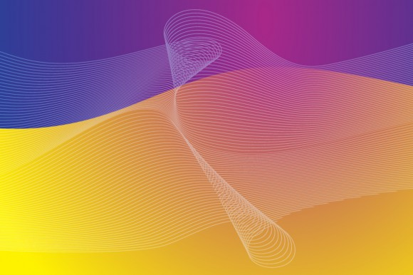 Graphical digital lines with purple and yellow background