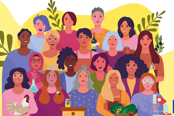 Graphical representation of a group of international agricultural women