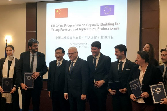 Young farmers at the closing ceremony on 17 November 2017 in Beijing, with Mr. Jerzy Plewa, director-general at the European Commission's department for agriculture and rural development and  Mr. BI Meijia, member of CPC Leading Group and Director-General