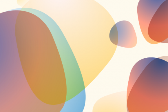 An abstract image of coloured shapes on a cream background