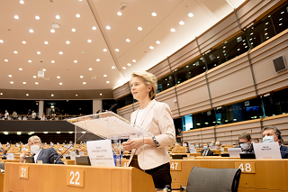 Ursula von der Leyen, President of the European Commission speeking at the European Parliament