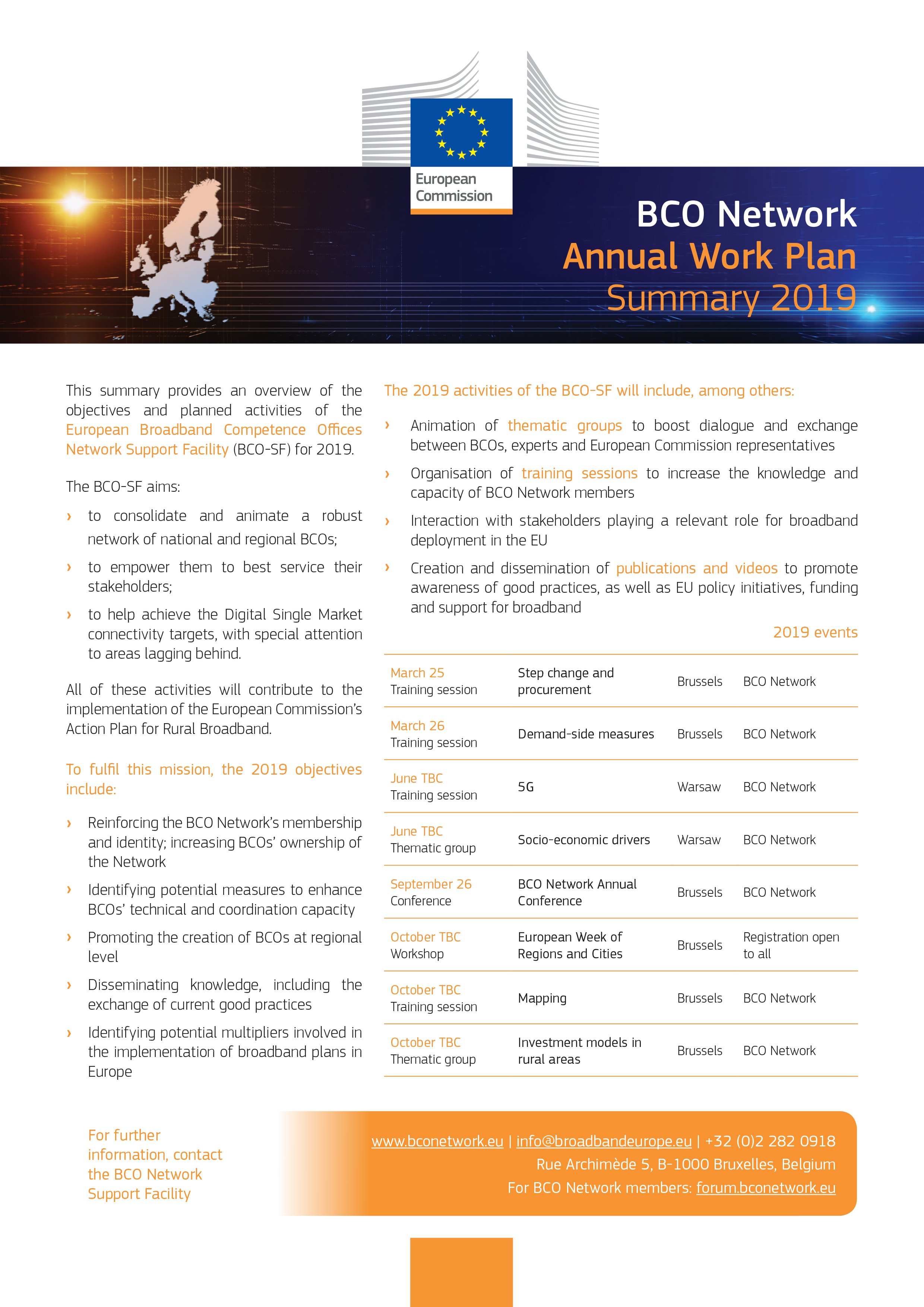 BCO Network Annual Work Plan Summary 2019