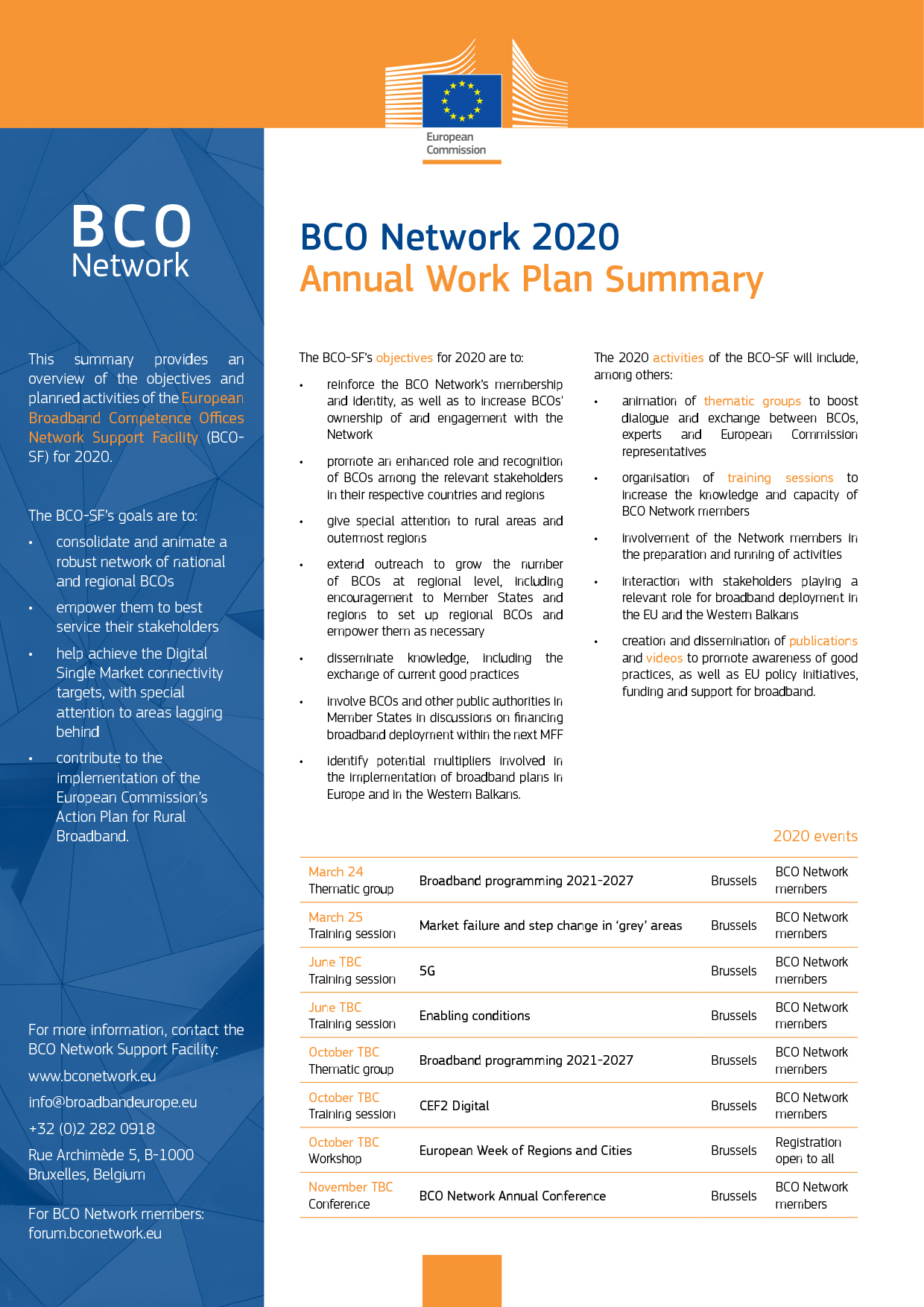 BCO Network 2020 Annual Work Plan Summary