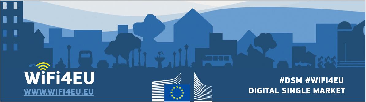 Banner with Ec logo and WIFi4EU emblem