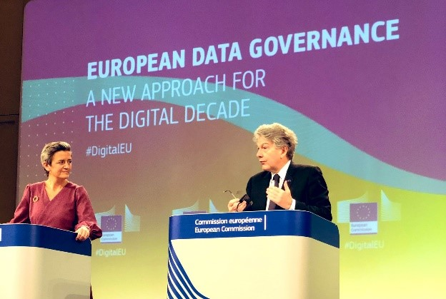 A photograph of Executive Vice-President Margarethe Vestager and European Commissioner for Internal Market Thierry Breton at a press conference on European data governance.