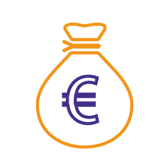 Icon of moneybag with euro on the front