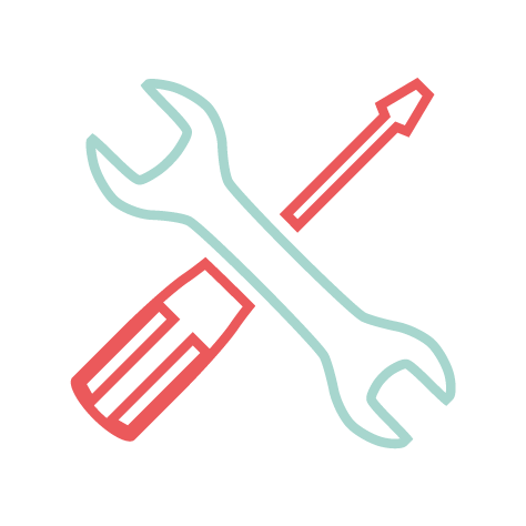 Icon Screwdriver across a wrench