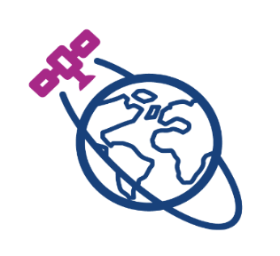Icon of satellite orbiting a globe