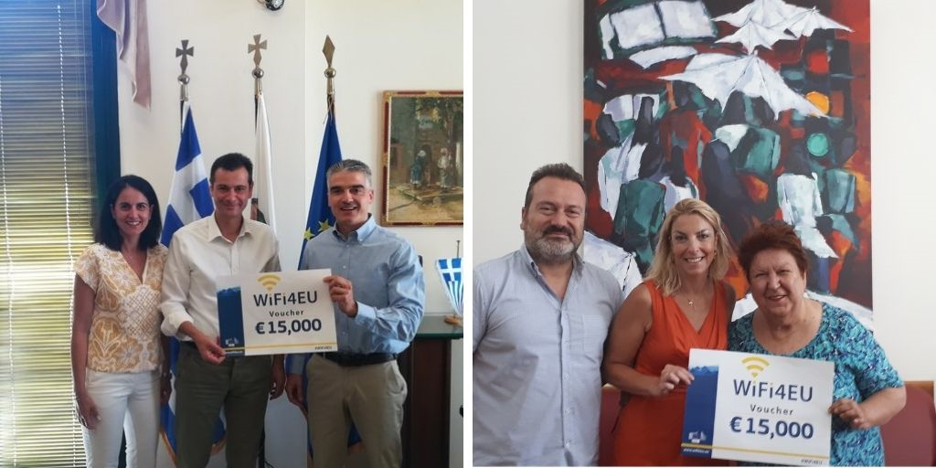 Two photos of Greek WiFi4EU beneficiaries holding a symbolic voucher