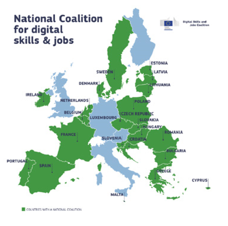 Map of countries in national coalition for skills and jobs