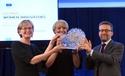 Michela Magas receiving the EU Woman Innovator prize