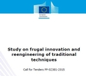 Cover of the report with text: Study on frugal innovation and reengineering of traditional techniques