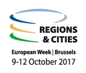 Logo of the conference, showing three circles around the words Regions@Cities, European Week, Brussels, 9-12 October 2017
