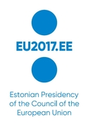 Logo EE Presidency - 2 blue dots with text