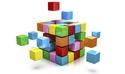 Graphic showing muticoloured building blocks