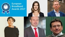 Logo of the European Broadband Awards 2017 and photos of the jury members