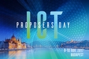 Poster of the event showing the Hungarian Parliament building and the river Danube, with text ICT Proposers' Day