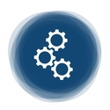 graphic with three cogs in a blue circle