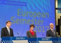 Press conference by Valdis Dombrovskis, Vice President of the EC, Pierre Moscovici and Marianne Thyssen, Members of the EC, on conclusions of College's orientation debate on 2017 European Semester – country reports © European Union, 2017