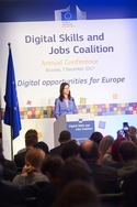 photo of Commissioner Gabriel speaking at the Digital Skills and Jobs Conference 7 December 2017