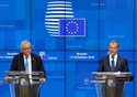 European Council Press conference - 18/10/2018, Mr Jean-Claude JUNCKER and Mr Donald TUSK. © European Union, 2018
