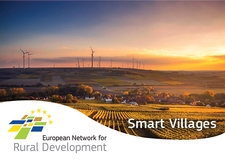 Rural landscape with fields, a small village and wind turbines in the distance. In front of the photo is the ENRD logo, and the title