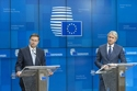 Press conference, Mr Valdis DOMBROVSKIS, Vice-President of the European Commission in charge of the Euro and Social Dialogue; Mr Eugen-Orlando TEODOROVICI, Romanian Minister for Public Finance. © European Union, 2019