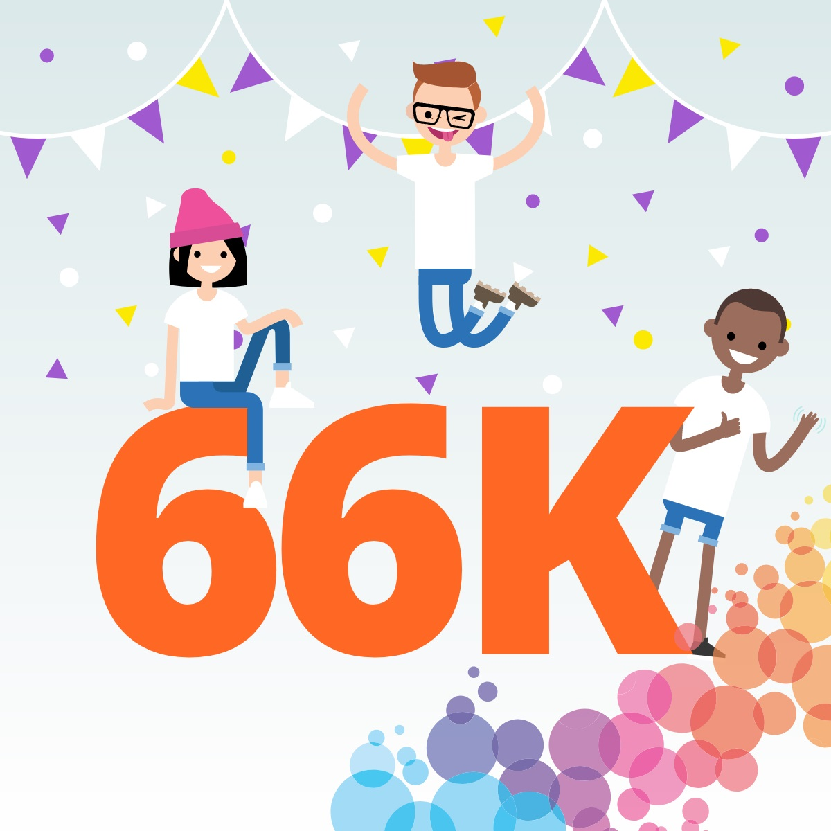 graphic showing kids in festive mood and text 66K