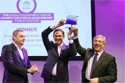 Dominic Waughray, on the left, Jyrki Katainen, in the center, and Karmenu Vella, on the right, at the Circular Awards ceremony in Davos.  © European Union, 2019